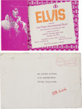 Music Memorabilia:Memorabilia, Al Dvorin's Personal Invitation to Elvis' 1971 Opening at TheInternational Hotel.... (Total: 2 Items)