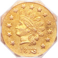 California Fractional Gold, 1873/2 $1 Indian Octagonal 1 Dollar, BG-1121, Low R.7, MS63PCGS....