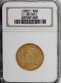 Liberty Eagles: , 1857 $10 XF40 NGC. NGC Census: (10/97). PCGS Population (19/57).Mintage: 16,606. Numismedia Wsl. Price for NGC/PCGS coin i...