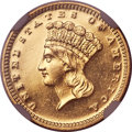 Proof Gold Dollars, 1870 G$1 PR62 NGC....