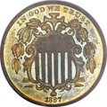 Patterns, 1867 5C Shield Five Cents, Judd-573, Pollock-649, 650, Low R.6,PR65 Red and Brown PCGS....