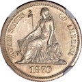 Patterns, 1870 10C Standard Silver Ten Cents, Judd-825, Pollock-915, Low R.7,PR63 NGC....