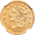 Classic Quarter Eagles, 1839-C $2 1/2 AU55 NGC. Breen-6149, Winter-3, Variety -24, R.4....