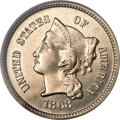 Patterns, 1868 3CN Three Cent Nickel, Judd-618, Pollock-687, R.4, PR65 CameoPCGS. CAC....