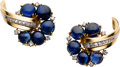 Estate Jewelry:Earrings, Retro Sapphire, Diamond, Gold Earrings, Trabert & HoefferMauboussin. ... (Total: 2 Items)