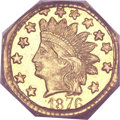 California Fractional Gold, 1876 50C Indian Octagonal 50 Cents, BG-950, R.7, MS65 PCGS....