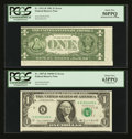 Error Notes:Error Group Lots, A Nice Pair of $1 FRN's.. ... (Total: 2 notes)