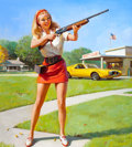Pin-up and Glamour Art, GIL ELVGREN (American, 1914-1980). Skeet Club, NAPA calendarillustration, c. 1974. Oil on canvas. 34 x 30.5 in.. Signed...