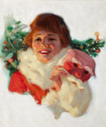 Mainstream Illustration, RONALD LEE ANDERSON (American, 1886-1926). ChristmasSurprise. Oil on board. 21.5 x 17.5 in.. Signed lower left. ...