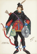 Mainstream Illustration, ARTHUR SZYK (American, 1894-1951). The Canon's Yeoman,Canterbury Tales, 1945. Gouache on paper. 6.5 x 4.75 in..Signed ...