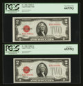 Small Size:Legal Tender Notes, Fr. 1506 $2 1928E Legal Tender Notes. Two Examples. PCGS Gem New 65PPQ & Very Choice New 64PPQ.. ... (Total: 2 notes)