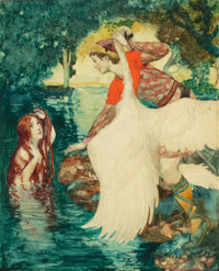 WILLY POGANY (Hungarian-American, 1882-1955) Woman with Swan Watercolor and ink on board 11 x 9 i