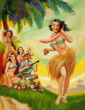 Pin-up and Glamour Art, LLOYD NORMAN ROGNAN (American, 1923-2005). Hula Dancer. Oilon canvas. 34.5 x 26 in.. Signed lower right. ...