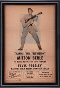 "Music Memorabilia:Memorabilia, Elvis Presley ""Thank You"" Ad to Milton Berle (1956)...."