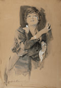 Paintings, HOWARD CHANDLER CHRISTY (American, 1872-1952). Listening, 1915. Watercolor on board. 33 x 22.5 in.. Signed lower left. ...
