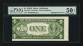 Error Notes:Skewed Reverse Printing, Fr. 1614* $1 1935E Silver Certificate. PMG About Uncirculated 50EPQ.. ...