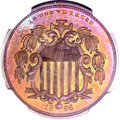 Patterns, 1866 5C Shield Five Cents, Judd-490, Pollock-578, Low R.7, PR65+ ★Red and Brown NGC....
