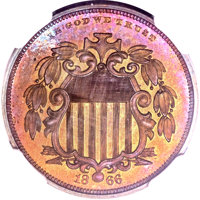 1866 5C Shield Five Cents, Judd-490, Pollock-578, Low R.7, PR65+ ★ Red and Brown NGC....(PCGS# 70686)