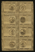Continental Currency May 10, 1775 Counterfeit Detector Uncut Sheet of Eight Very Fine