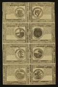 Colonial Notes:Continental Congress Issues, Continental Currency May 9, 1776 Counterfeit Detector Uncut Sheetof Eight Extremely Fine-About New.. ...