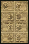 Colonial Notes:Continental Congress Issues, Continental Currency July 22, 1776 Counterfeit Detector Uncut Sheet of Eight Extremely Fine.. ...