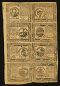 Colonial Notes:Continental Congress Issues, Continental Currency February 26, 1777 Uncut Half Sheet of EightExtremely Fine.. ...