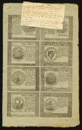 Colonial Notes:Continental Congress Issues, Continental Currency September 26, 1778 Two Counterfeit DetectorUncut Sheets of Eight Extremely Fine.. ... (Total: 2 sheets)