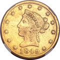 "Territorial Gold, 1849 $10 Moffat & Co. Ten Dollar, ""Ten D."" VF20 NGC. K-5, HighR.6...."