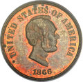 Patterns, 1866 5C Five Cents, Judd-488, Pollock-576, High R.7, PR64 Red andBrown PCGS....