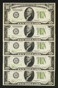 Error Notes:Skewed Reverse Printing, Fr. 2005-D $10 1934 Light Green Seal Federal Reserve Notes. FiveConsecutive Examples. . ... (Total: 5 notes)