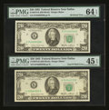Error Notes:Major Errors, Fr. 2075-K $20 1985 Federal Reserve Notes. Two ConsecutiveExamples. PMG Choice Extremely Fine 45 EPQ & ChoiceUncirculated 64...