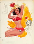 Pin-up and Glamour Art, JERRY T. N. THOMPSON (American, 20th Century). Want to See MeSwing My Baton, Studio Sketches calendar illustration, Sep...