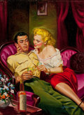 Pulp, Pulp-like, Digests, and Paperback Art, GEORGE GROSS (American, 1909-2003). Lover Boy (Sacrifice),paperback cover, 1950. Oil on board. 16 x 12 in.. Signedlowe... (Total: 2 Items)