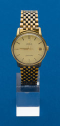 Timepieces:Wristwatch, Omega 18k Screw Back Seamaster Wristwatch. ...