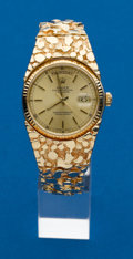 Timepieces:Wristwatch, Rolex Ref. 18000 Gold President With Massive 14k Gold Nugget Band....