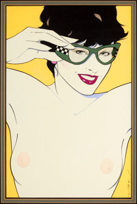 PATRICK NAGEL (American, 1945-1984) Nude with Sunglasses, Playboy illustration Acrylic on board 1