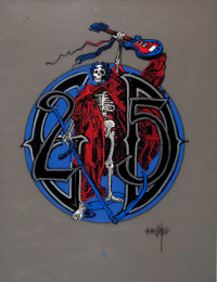 RICK GRIFFIN (American, 1944-1991) Grateful Dead 25th Anniversary, GD/25 Lettering + Red Robed Skeleton/ Grim R