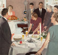 Mainstream Illustration, DOUGLASS CROCKWELL (American, 1904-1968). Thanksgiving Dinner,U.S. Brewer's Foundation ad, 1952. Gouache on board. 22.5...