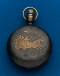 Timepieces:Pocket (post 1900), Waltham, Coin, 18 Size With Gold Horse Drawn Fire Engine Inlay. ...