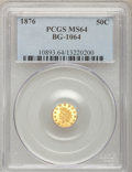 California Fractional Gold, 1876 50C Indian Round 50 Cents, BG-1064, R.6, MS64 PCGS....