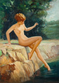 Pin-up and Glamour Art, WALT OTTO (American, 1895-1963). Nude by the Water. Oil onboard. 23 x 16.5 in.. Signed lower left. ...