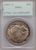 Peace Dollars: , 1923-D $1 MS61 PCGS. PCGS Population (112/3529). NGC Census:(140/2237). Mintage: 6,811,000. Numismedia Wsl. Price for prob...