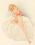 Pin-up and Glamour Art, ALBERTO VARGAS (American, 1896-1982). Pink Sash. Watercoloron board. 24 x 19 in.. Signed lower right. ...