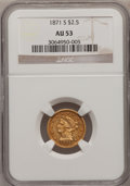Liberty Quarter Eagles: , 1871-S $2 1/2 AU53 NGC. NGC Census: (13/128). PCGS Population(7/42). Mintage: 22,000. Numismedia Wsl. Price for problem fr...