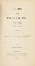 "Books:First Editions, [Jane Austen]. Pride and Prejudice: A Novel. In ThreeVolumes. By the Author of ""Sense and Sensibility."" Vol. I....(Total: 3 Items)"