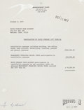Music Memorabilia:Documents, Elvis Presley Tour Cancellation Expenses Letter....