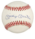 Autographs:Baseballs, Mickey Mantle Single Signed Baseball. OAL (Brown) orb here is relatively unmarked, save the splendid sweet spot signature f...