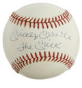 "Autographs:Baseballs, Mickey Mantle ""The Mick"" Single Signed Baseball. Exceptional sweetspot inscription baseball from the indomitable Mickey Ma..."