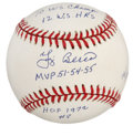 Autographs:Baseballs, Yogi Berra Single Signed Stat Baseball . A very special OAL (Budig)baseball with Yogi's signature in bright blue ink (9+/1...