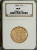 Liberty Eagles: , 1892 $10 MS61 NGC. NGC Census: (2224/2488). PCGS Population (1121/1164). Mintage: 797,400. Numismedia Wsl. Price: $370. (#8...